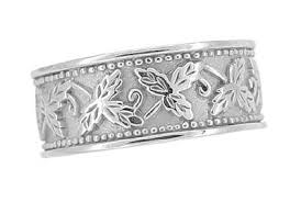 8mm ring size grapes and grape leaves heavy wide wedding band in 14k white gold