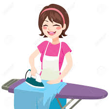 young beautiful happy woman smiling ironing clothes in house