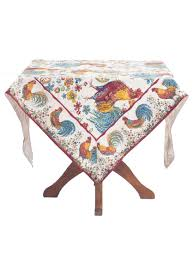 Coffee Table Cloth by Square Table Cloth Doodle Doo Cotton Print By April Cornell