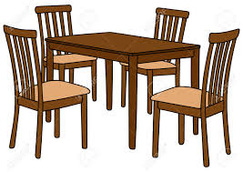 hand drawing of a table and four chairs royalty free cliparts