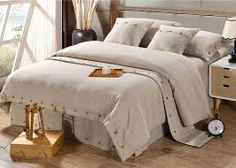 Contemporary Bedding Sets Linen Wooden Buttons Modern Bedding Sets 4pcs Real Simple