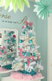 white christmas tree blue decorations christmas lights decoration