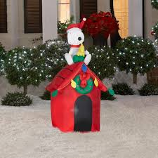 Home Depot Inflatable Christmas Decorations Snoopy Airblown Inflatable Doghouse Woodstock Peanuts Christmas