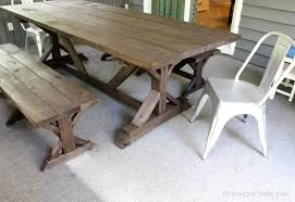 Diy Farmhouse Table And Bench Anthro Inspired Outdoor Farmhouse Table U0026 Benches Erin Spain
