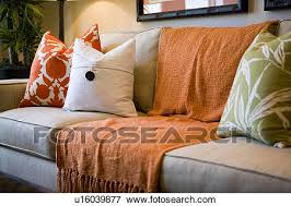 picture of comfortable sofa with orange throw blanket and
