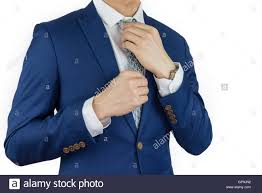 businessman fitting up blue suit and necktie formal dress code