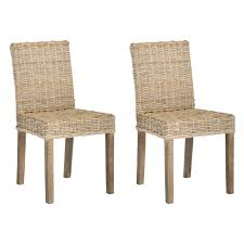 Safavieh Pembrooke Wicker Dining Side Chairs Natural Set Of - Wicker dining room chairs