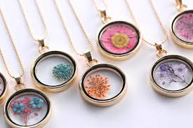 glass locket pendant necklace images Glass locket necklaces dry flowers necklace long gold chain charm jpg