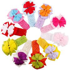crochet elastic ribbon 10pcs lot girl hair bow headband diy ribbon bow crochet elastic