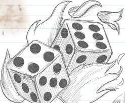 wonderful flaming dice design on paper tattooshunter com