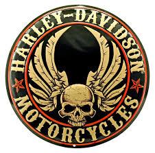 davidson flying skulls tin sign
