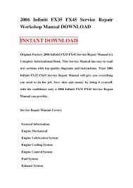 2006 infiniti fx35 fx45 service repair workshop manual download