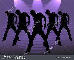 party silhouette five dancing men illustration
