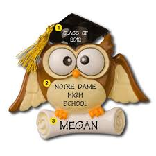 personalized graduation owl christmas ornaments with scroll and