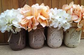 pint painted mason jars vintage rustic home decor wedding