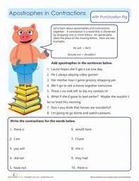 apostrophes in contractions worksheet education com