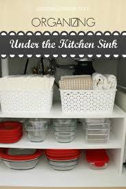 organize under your kitchen sink using a small shoe rack w