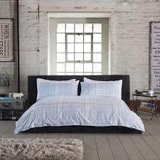studio 1846 level crossing blue checked duvet cover set dove mill