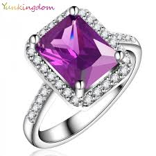 Cubic Zirconia Wedding Rings by Yunkingdom New Vogue Square Design White Gold Plated Ring Cubic