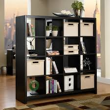How To Decorate A Bookshelf Aero 16 Cube Bookcase Room Divider Classic Black Hayneedle