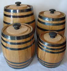 furniture oak barrel kitchen canister sets for kitchen
