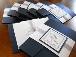wedding invitations navy black wedding invitation silver white vintage