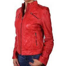 women red leather biker jacket sophie brandslock