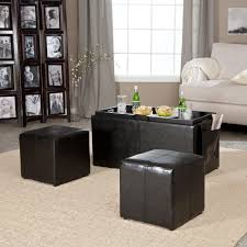 Large Storage Ottoman Table Black Rectangle Classic Leather Coffee Table Storage Ottoman
