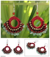 brass beaded quartz earrings from thailand tribal novica