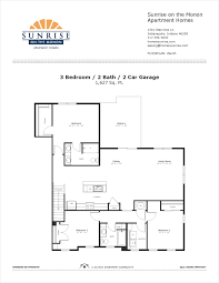 zenith 3 bedroom floor plan sunrise on the monon apartment homes