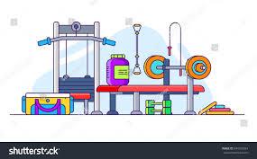 illustration gym bench press dumbbells protein stock vector
