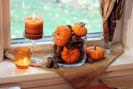 home fall decor window sill ornamental pumpkins ahorns candles