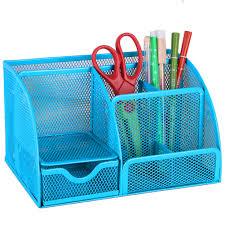 Wire Desk Organizer by Black Blue Mesh Desk Organizer Office Supplies Caddy Combination