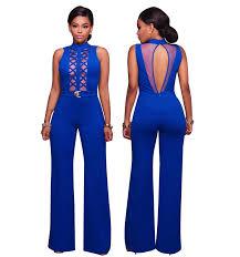 royal blue jumpsuit wholesale royal blue mesh accent belted wide leg jumpsuit