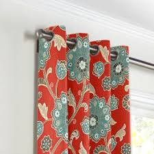 Teal And Red Curtains Aqua U0026 Red Floral Fabric Cutting Hedge Paprika Loom Decor