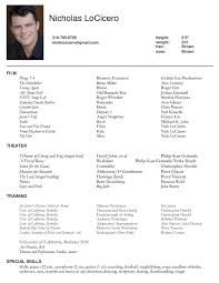 Resume Special Skills Example by Actors Resume Resume Example