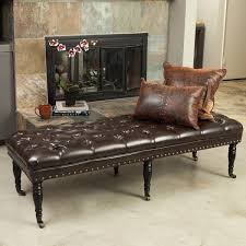 hastings brown tufted bonded leather ottoman bench by christopher