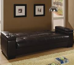 coaster faux leather convertible sofa sleeper with storage 300143