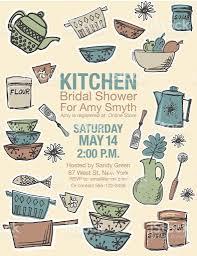 retro kitchen bridal shower invitation template stock vector art