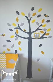 hibou chambre bébé stickers arbre gris jaune blanc hibou chouette oiseaux feuilles