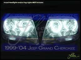 light green jeep cherokee 99 04 jeep grand cherokee ccfl halo rings headlights bulbs