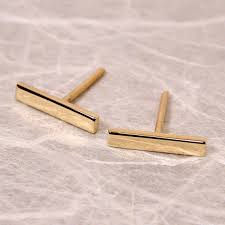 gold bar stud earrings items similar to susan sarantos 10mm x 2mm 18k yellow gold bar