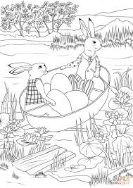 rabbits in a boat with easter eggs coloring page free printable
