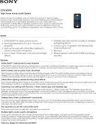 sony high powered bluetooth light up speaker gtk xb5 sony gtk xb90 user manual marketing specifications gtkxb90b mksp