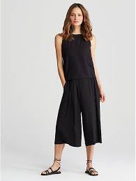 eileen fisher jumpsuit v neck cropped jumpsuit in lightweight viscose jersey eileen fisher