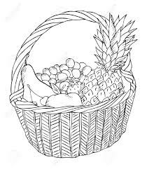 drawn basket fruit basket pencil and in color drawn basket fruit