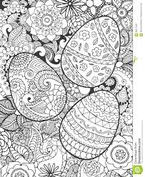 easter eggs and flowers coloring page stock vector image 68317829
