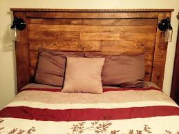 Headboards With Built In Lights Enchanting Headboard With Lights With Wood Rustic Headboard With