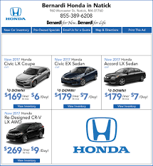 lease a honda civic honda lease specials honda dealer near newton ma