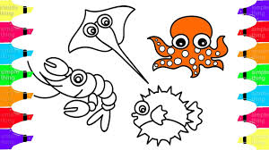 drawing and coloring sea fishes for kids simple things octopus